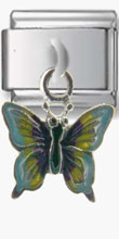 Rainbow Butterfly Silver Charm