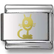 One-Eyed Cat Gold Laser Charm
