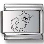 Cat with Heart Shaped Box Laser Charm