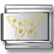 Butterfly with Hearts Gold Laser Charm