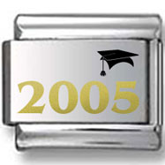 Graduation Cap and Year 2005 Gold and Black Laser Charm