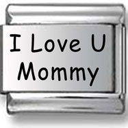 I Love U Mommy Laser Charm