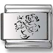 Mother and Child Abstraction Laser Charm