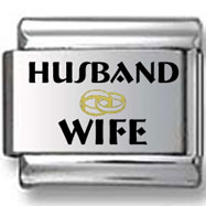 Black and Gold Husband and Wife with Wedding Ring Laser Charm