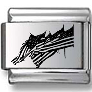 Row of American Flags Laser Charm