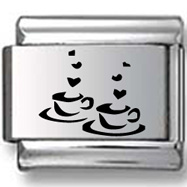 Two Cups of Tea Laser Charm