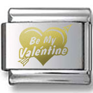 Valentines Day Bold Heart Gold Laser Charm