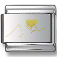Person Kissing a Heart Gold Laser Charm