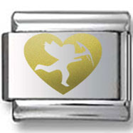 Bold Heart with Cupid Gold Laser Charm