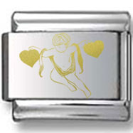 Angel with Two Hearts Gold Laser Charm