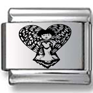 Angel with Heart Wings Laser Charm