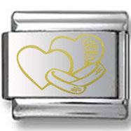 Wedding Rings and Hearts Gold Laser Charm