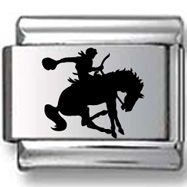 Man riding Bucking Bronco Black Laser Charm