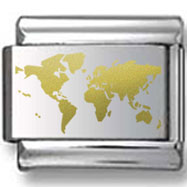 Map of World Gold Laser Charm