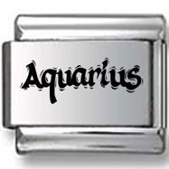 Aquarius Text Laser Charm