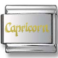 Gold Capricorn Text Laser Charm