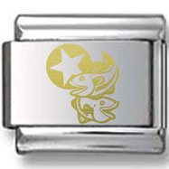 Gold Pisces Star Laser Charm
