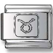 Symbolic Taurus Icon in Box Black Laser Charm