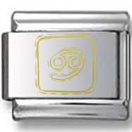 Symbolic Cancer Icon in Box Gold Laser Charm