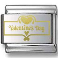 Valentine's Day Sign Gold Laser Charm
