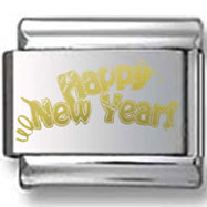 Happy New Years Gold Laser Charm