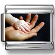 Baby's Hand in Parent's Hand Photo Charm