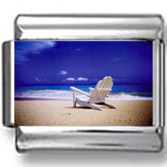 Beach Chair on Empty Beach Photo Charm