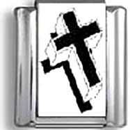 Black and White Cross Italian Charm