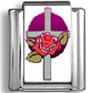 Cross with Rose Photo Charm