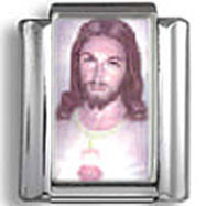 Jesus Christ and Sacred Heart Photo Charm