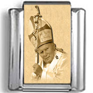 Pope John Paul II with Crown and Staff Charm