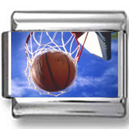 Basketball in Hoop Photo Charm