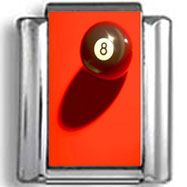 8 Ball on Red Background Photo Charm