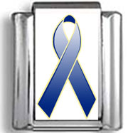 Blue Awareness Ribbon Photo Charm