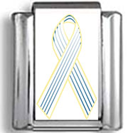 Navy Blue and White Pinstripe Awareness Ribbon Photo Charm