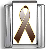 Brown Awareness Ribbon Photo Charm