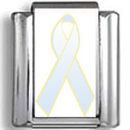 Light Blue Awareness Ribbon Photo Charm