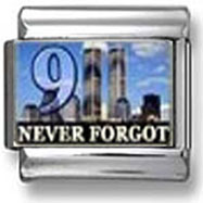 9-11 Never Forgot Italian Charm