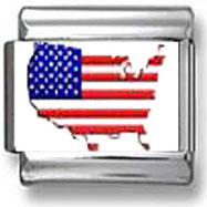 American Flag State Italian Charm