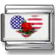 American flag heart with a rose photo charm