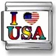 I Love USA & Gay Pride Italian Charm