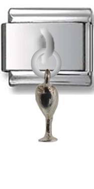 Wine Glass Sterling Silver Italian Charm