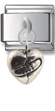 Split Heart Sterling Silver Italian Charm