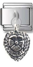 Heart Flower Sterling Silver Italian Charm