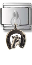 Horse and Horseshoe Sterling Silver Italian Charm