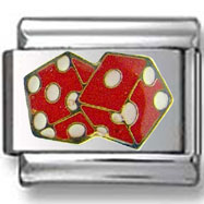 Red White Dice Italian Charm