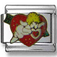 Cupid on Red Heart Italian Charm