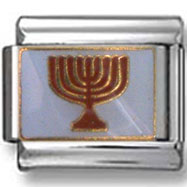 Red Menorah Italian Charm