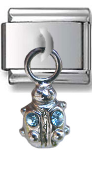Dangle Ladybug Zirconia Italian Charm