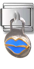 Dangle Blue Lips Italian Charm